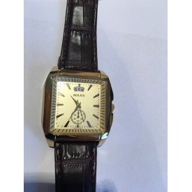 Gold, Brown Leather Strap